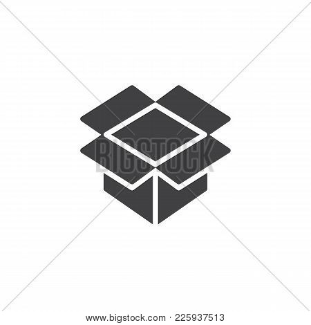 Open Parcel Box Icon Vector, Filled Flat Sign, Solid Pictogram Isolated On White. Packaging Cardboar