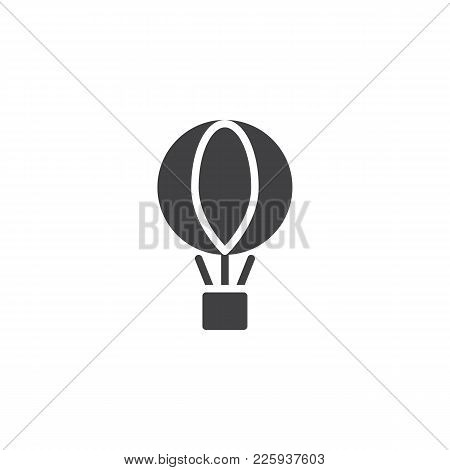 Air Balloon With The Parcel Box Icon Vector, Filled Flat Sign, Solid Pictogram Isolated On White. De
