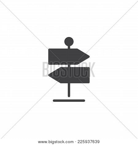 Signpost Icon Vector, Filled Flat Sign, Solid Pictogram Isolated On White. Direction Pointer Symbol,