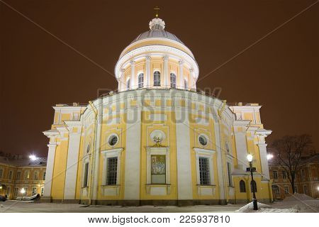 Trinity Cathedral Of The Alexander Nevsky Lavra Close-up On January Night. Saint-petersburg, Russia