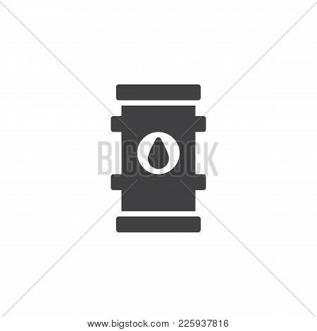 Oil Barrel Icon Vector, Filled Flat Sign, Solid Pictogram Isolated On White. Symbol, Logo Illustrati