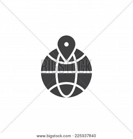 Location Pin On A Globe Icon Vector, Filled Flat Sign, Solid Pictogram Isolated On White. Global Loc
