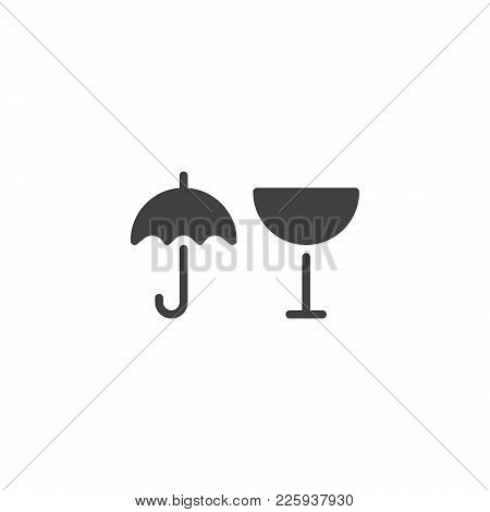 Package Handling Labels Icon Vector, Filled Flat Sign, Solid Pictogram Isolated On White. Glass, Kee