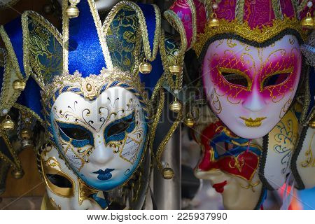 Venice, Italy - September 28, 2017: Two Souvenir Venetian Mask Close Up