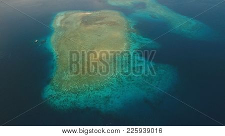 Aerial View Coral Reef, Atoll With Turquoise Water In The Sea.tropical Atoll, Coral Reef In Ocean Wa