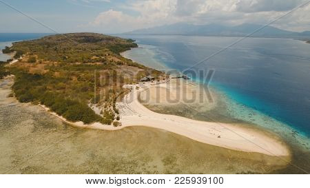 Aerial View Tropical Island Menjanga With White Sand Beach. Coral Reef, Atoll On Menjangan, Colorful
