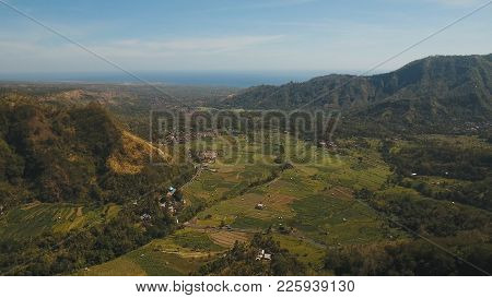 Mountains With Rice Terrace, Farmlands, Village, Fields With Crops, Agricultural Land Of Farmers. Ae
