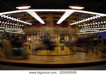 Carousel, Merry Go Round, Moving, In Motion, Blur, Blurred, Long Exposure, At Night, Illuminated, Ye