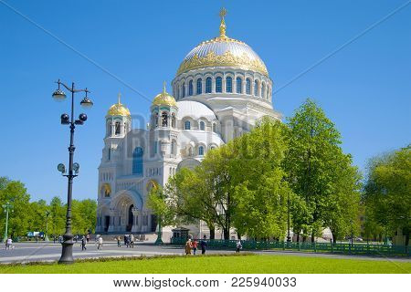 Kronstadt, Russia - May 30, 2015: Sunny May Day At The Saint Nicholas Naval Cathedral, Saint Petersb