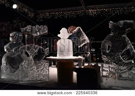 Ice Sculpture Demonstration Show Presentation At Zoo Lights, Lincoln Park Zoo, Chicago, Il, December