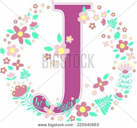 Initial Letter J With Decorative Flowers And Design Elements Isolated On White Background. Can Be Us