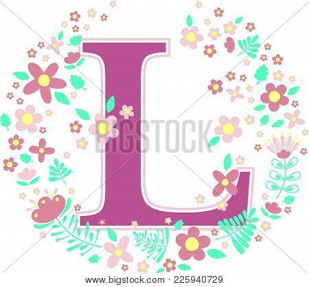 Initial Letter L With Decorative Flowers And Design Elements Isolated On White Background. Can Be Us