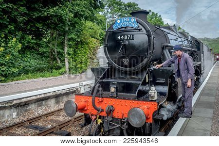 Corpach, Scotland, United Kingdom - July 20, 2016 : The Jacobite Being Inspected Before Steaming Tho