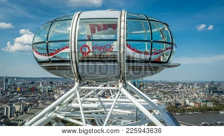 London, United Kingdom - 8 May, 2016 : The London Skyline With An Isolated London Eye Capsule With C