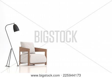 White Fabric Armchair On White Background 3d Rendering Image.there Are Clipping Path On An Armchair