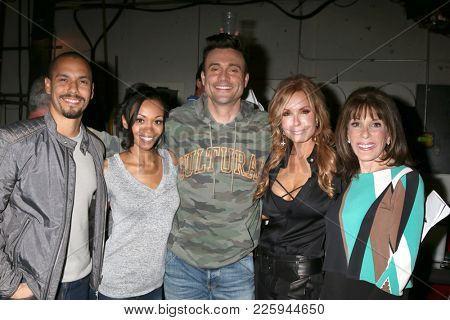 LOS ANGELES - FEB 2:  Bryton James, Mishael Morgan, Daniel Goddard, Tracey Bregman, Kate Linder at the Tracey Bregman 35th Anniversary on YnR at CBS TV City on February 2, 2018 in Los Angeles, CA
