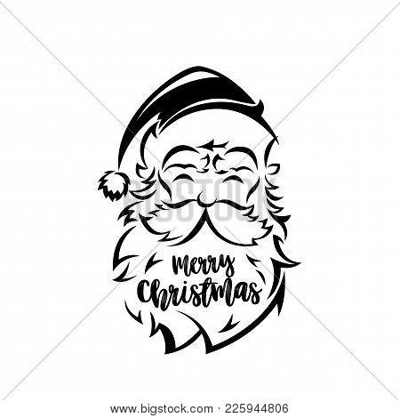 Santa Claus Face On White Background Vector Illustration Design.