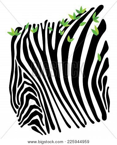 Limited Background With The Image Of Strips Of Zebra With Green Leaves. Spring In The Savannah. Orna