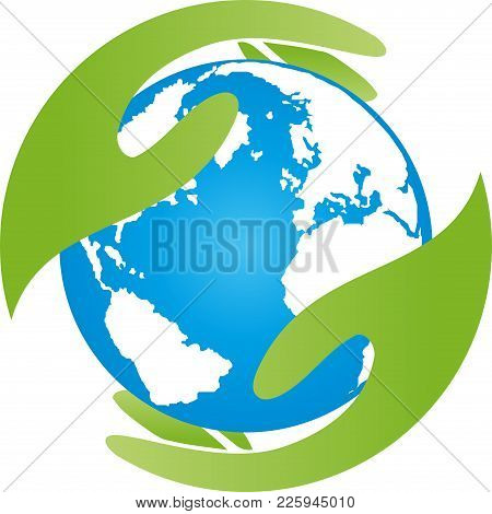 Two Hands And Earth, World Globe, Globe And Recycle Logo