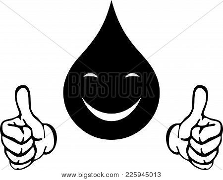 Water Drops With Hands And Smile, Drops And Water Logo