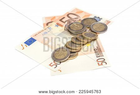 Euro Coins With Two 50 Euro Bills On White Background.