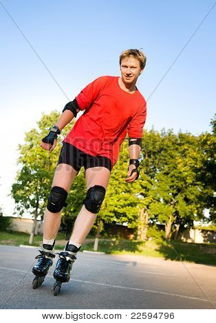Young active roller blade skater