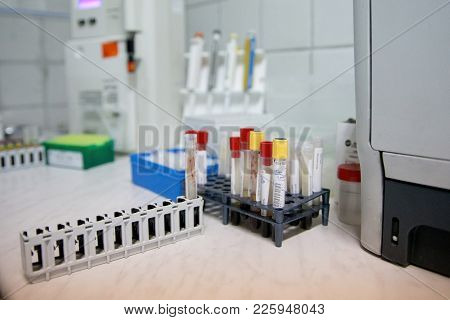 Medical Test-tube With Blood Samples In Medical Laboratory. Many Test Tubes With Blood Being Tested.