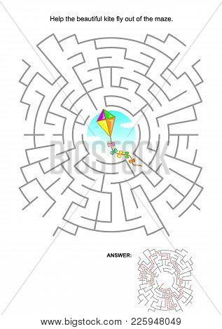 Maze Game For Kids: Help The Beautiful Colorful Kite Fly Out Of The Labyrinth. Answer Included.