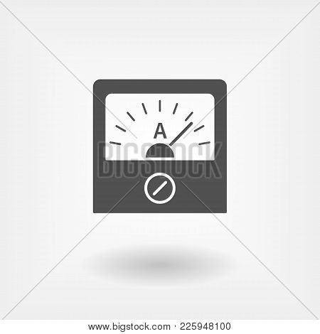 Ammeter Icon In Flat Style. Physical Measuring Device