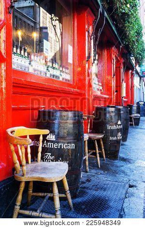 DUBLIN, IRELAND - March 31, 2017: Traditional Irish bar in Dublin Ireland