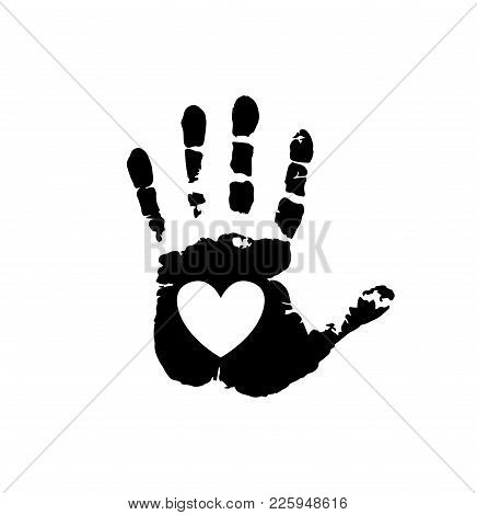 Black Silhouette Of Human Hand Print With Heart Symbol In Open Palm Isolated On White Background. Ve