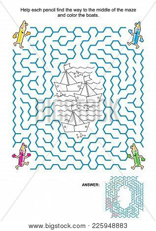 Maze Game And Coloring Page For Kids: Help The Pencils Get To The Black And White Drawing And Color