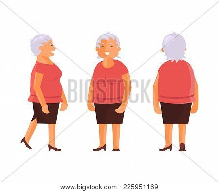 Elderly Woman Set With Various Views. Front, Side, Back View Animated Character. Cartoon Style, Flat