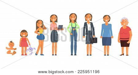 Woman Character In Different Ages In Cartoon Style. The Life Cycle Including Baby, Child, Teenager,