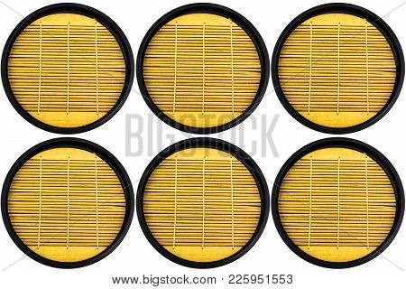 Background Of Wooden Circle Tray In Japanese Style