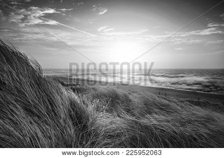 Beautiful Black And White Sunrise Landscape Image Of Sand Dunes System Over Beach With Wooden Boardw