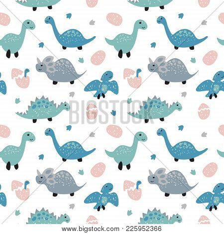 Childish Seamless Pattern With Cute Dinosaurs. Scandinavian Style. Childish Texture For Fabric, Text