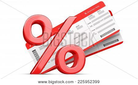 3d Percent Or Discount Symbol With Two Red Airline Boarding Pass Tickets Isolated On White. 3d Rende