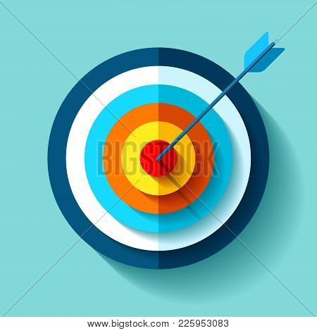 Volume Target Icon In Flat Style On Color Background. Arrow In The Center Aim. Vector Design Element
