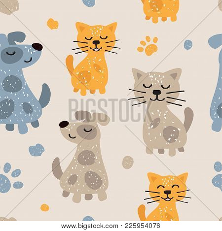 Childish Seamless Pattern With Cute Dogs And Cats. Scandinavian Style. Childish Texture For Fabric,