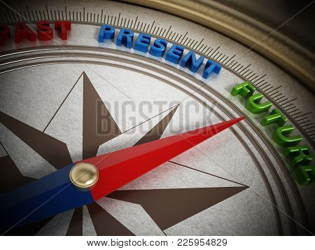 Compass Needle Pointing Future Among Past And Present. 3d Illustration.