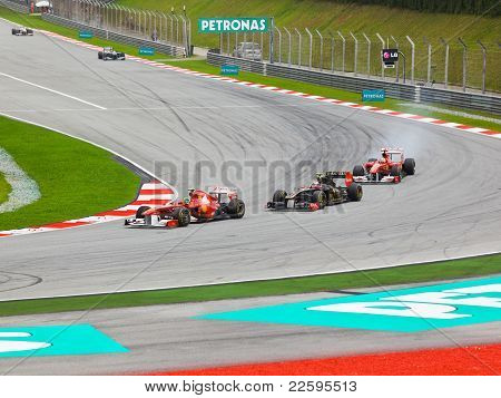 Sepang, Malaysia - April 10: Cars On Track At Race Of Formula 1 Gp, April 10 2011, Sepang, Malaysia