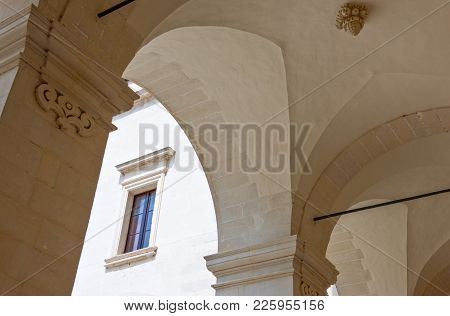 Lecce,  Italy - April 17, 2010: The Arcade Of The Seminary Cloister