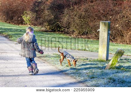 Little Girl Walking With Miniature Pincher Puppy In The Park