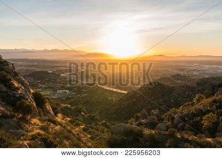 Early morning view of the San Fernando Valley in Los Angeles California.  Shot from Rocky Peak Park near Simi Valley.