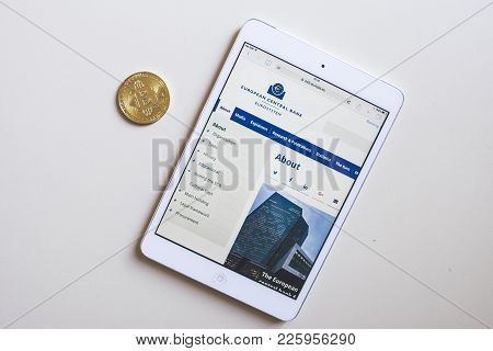 Budapest, Hungary - Feb 04, 2018: Close Up View Of A Bitcoin Gold And A Tablet With European Central