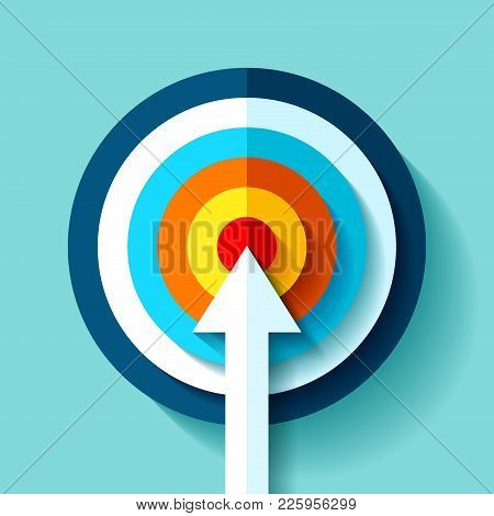 Volume Target Icon In Flat Style On Color Background. White Arrow In The Center Aim. Vector Design E