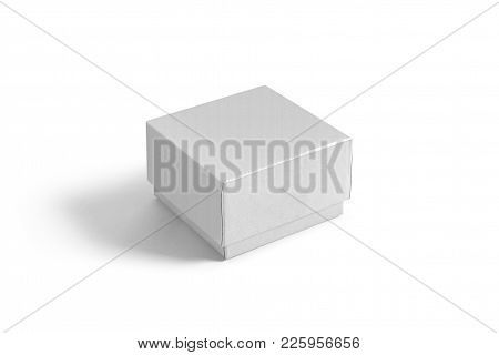 Single Gift Box Isolated On Background. Wrapped Vintage Gift Box Mock Up Template Ready For Your Des