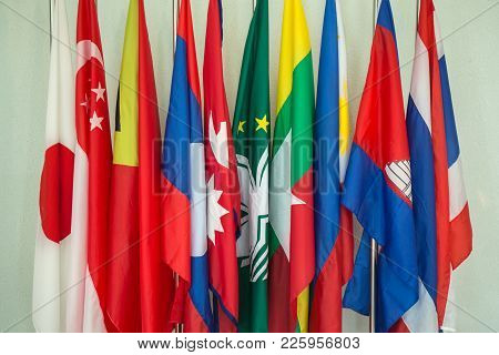 Group Colorful Of Asean And Asia Flags