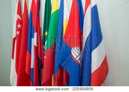 Group Of Colorful Asia Flags In Row